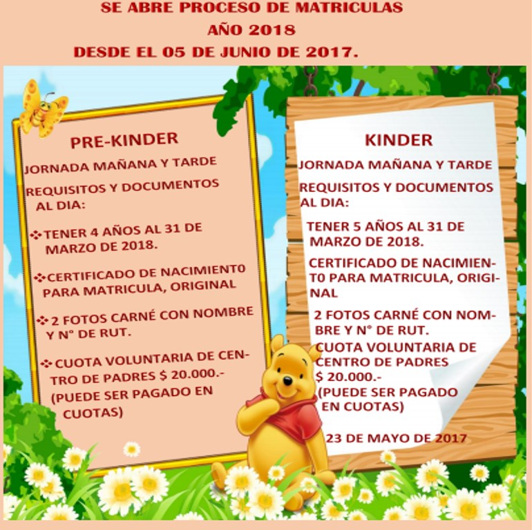 Matriculas Kinder 2018